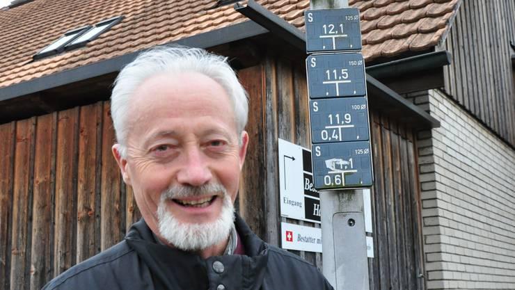 Hans Hauri ist einer der Anwohner der Dorfstrasse in Baden Dättwil.