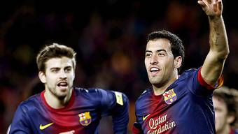 Busquets (rechts) traf in der Nachspielzeit zum Sieg für Barcelona