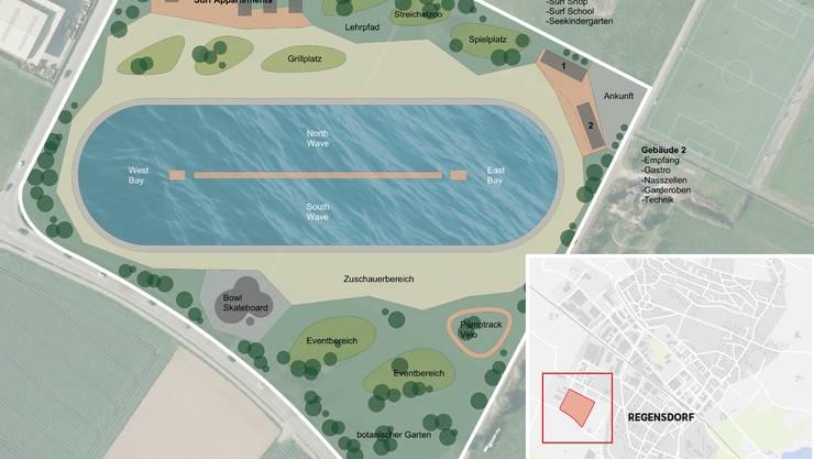 Ab 2020 sollen Surfer im Wellenpool in Regensdorf auf künstlich generierten Wellen reiten können.