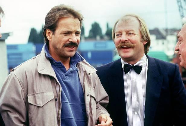Szene mit Eberhard Feik, links, als Thanner und Goetz George als Schimanski im Hafen von Duisburg am 29. September 1987 einen Mord aufklären.