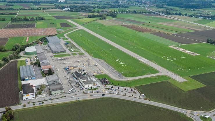 Der Flughafen Grenchen aus der Vogelschau.