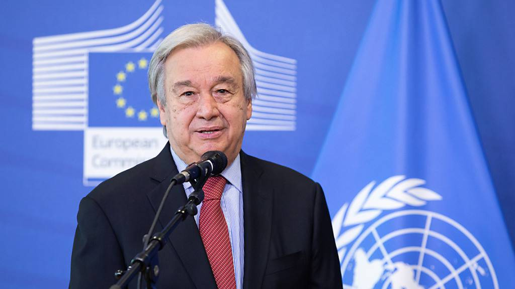 FILED - UN-Generalsekretär António Guterres spricht auf einer Pressekonferenz. (Archivbild) Photo: -/European Commission /dpa - ATTENTION: editorial use only and only if the credit mentioned above is referenced in full