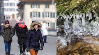 Über die Kreuzackerbrücke laufen die Leute warm eingepackt, in der Verenaschlucht haben sich Eiszapfen gebildet.