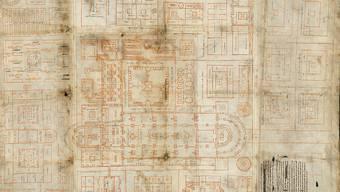 Herzstück des neuen Ausstellungsraums im St. Galler Stiftsbezirk ist der Klosterplan aus dem 9. Jahrhundert, der erstmals einem breiten Publikum gezeigt wird. (Stiftsbibliothek St. Gallen)
