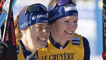 Die strahlenden Siegerinnen: Laurien van der Graaff (links) und Nadine Fähndrich.
