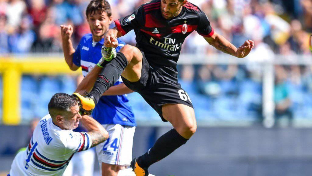 Ricardo Rodriguez kommt gegen Sampdorias Goalie Christian Puggioni zu spät.