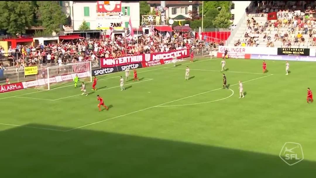 Challenge League, 2019/20, 1. Runde, FC Winterthur - FC Aarau, 89. Minute: Schuss von Rijad Salij.