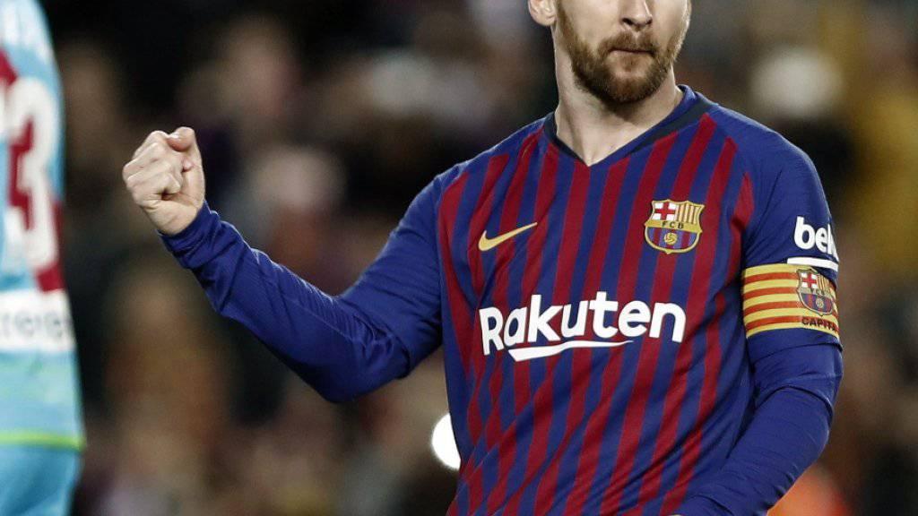 Lionel Messi freut sich über seinen verwerteten Penalty