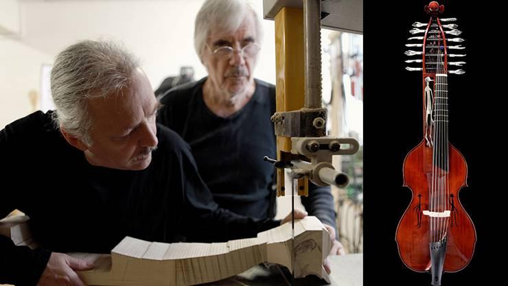 Am Anfang war ein Stück Holz: Kuno Schaub und Schang Hutter bearbeiten den Holzrohling an der Bandsäge. Rechts das fertige Gemeinschafts(kunst)werk.