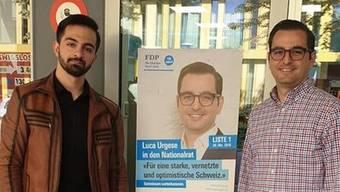 Spannten im Wahlkampf zusammen: Yusuf Akpinar und Luca Urgese. (zvg / facebook)