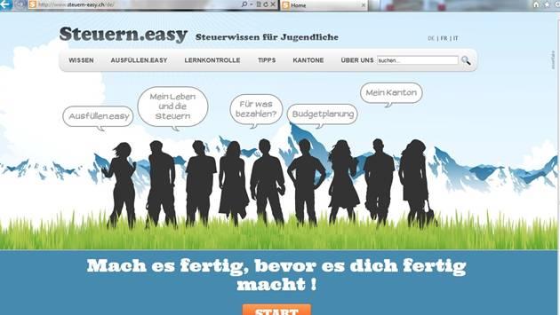 Die Website www.steuern-easy.ch soll jungen Steuerpflichtigen beim Ausfüllen der Steuererklärung helfen. Screenshot