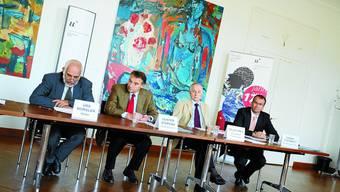 Start ins neue Uni-Jahr: Von links: Rektor Urs Würgler, die Vizerektoren Gunter Stephan und Felix Frey sowie Verwaltungsdirektor Daniel Odermatt. joh