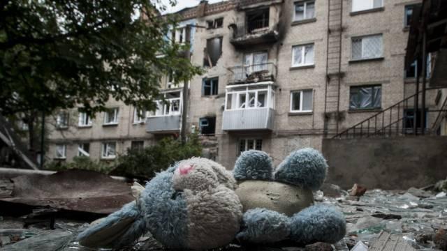 Verlassene Gebäude nach Kämpfen in Slovyansk in der Ost-Ukraine.