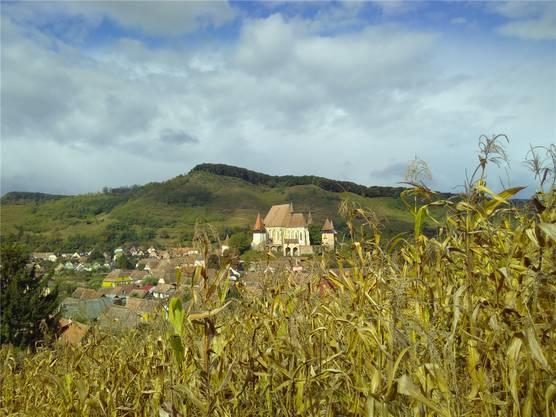 In Biertan (Birthälm) lohnt sich ein Besuch der Kirchenburg – und ein Spaziergang auf die nahen Hügel mit ihrer Aussicht. Andrea Weibel