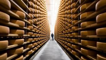 Ein Käser wandert in einem Reifekeller zwischen den Käsesorten von Gruyere d'Alpage.