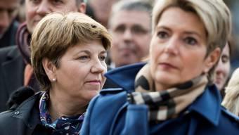 Steigen als Favoritinnen in die heutige Bundesratswahl: Viola Amherd (CVP, links) und Karin Keller-Sutter (FDP).