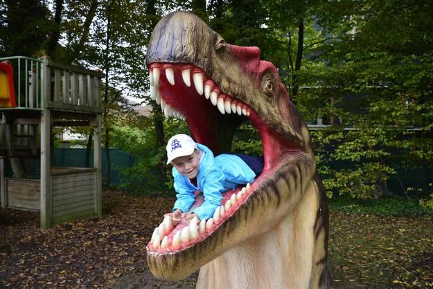 Fotoshooting im Maul eines Albertosaurier