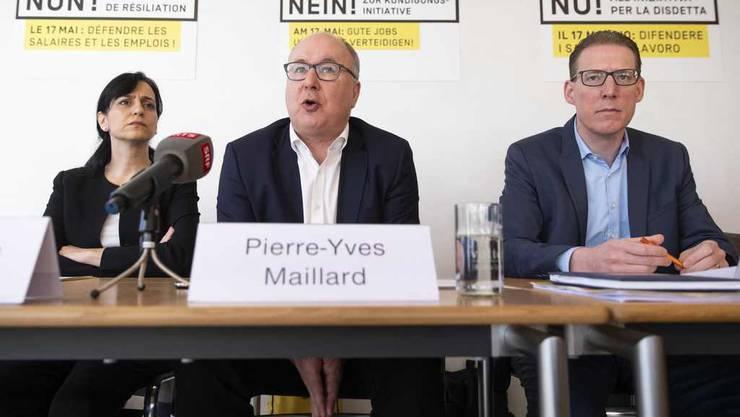 Auch Gewerkschafter kämpfen gegen die Begrenzungsinitiative (v.l.): Vania Alleva (Unia), Pierre-Yves Maillard (SGB) und Adrian Wüthrich (Travail Suisse).