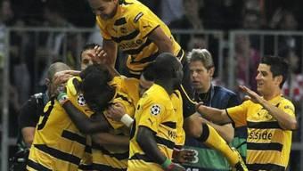 Kollektiver YB-Jubel nach einer über weite Strecken überzeugenden Leistung gegen Tottenham