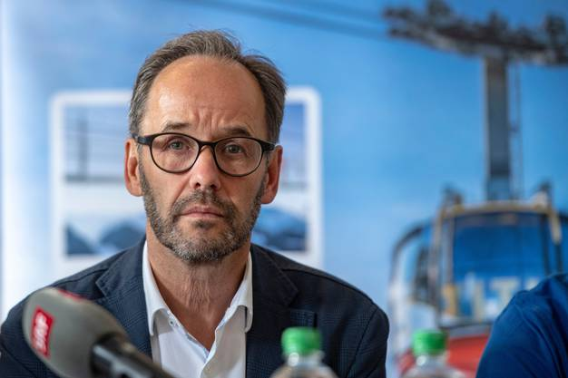 Titlisbahnen-CEO Norbert Patt während der Medienkonferenz im Hotel Terrace in Engelberg.