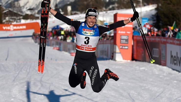 Bereits legendär: Laurien van der Graaffs Luftsprung nach dem Sieg bei der Sprint-Generalprobe vor einem Jahr in Seefeld