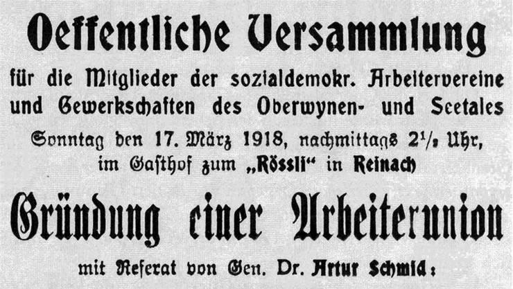 Vorbote des Streiks: Inserat im «Freien Aargauer» vom 16. März 1918.