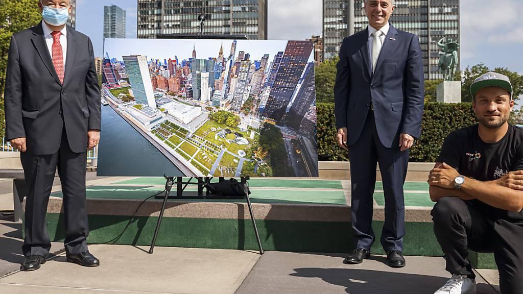 Schweiz schenkt der Uno in New York ein riesiges Bio-Bild