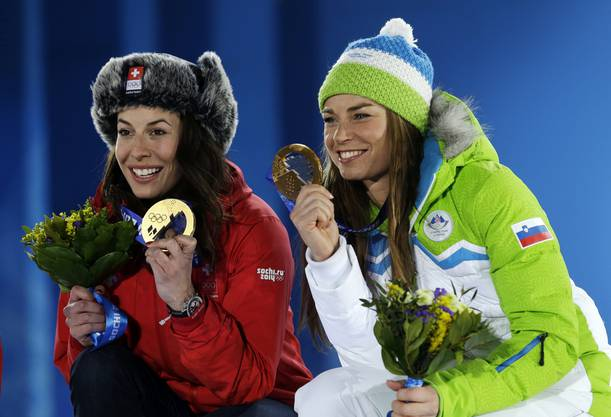 Strahlen um die Wette - Goldmedaillengewinner Gisin und Maze