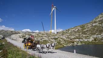 Die Windkraftanlage auf dem Gotthard.