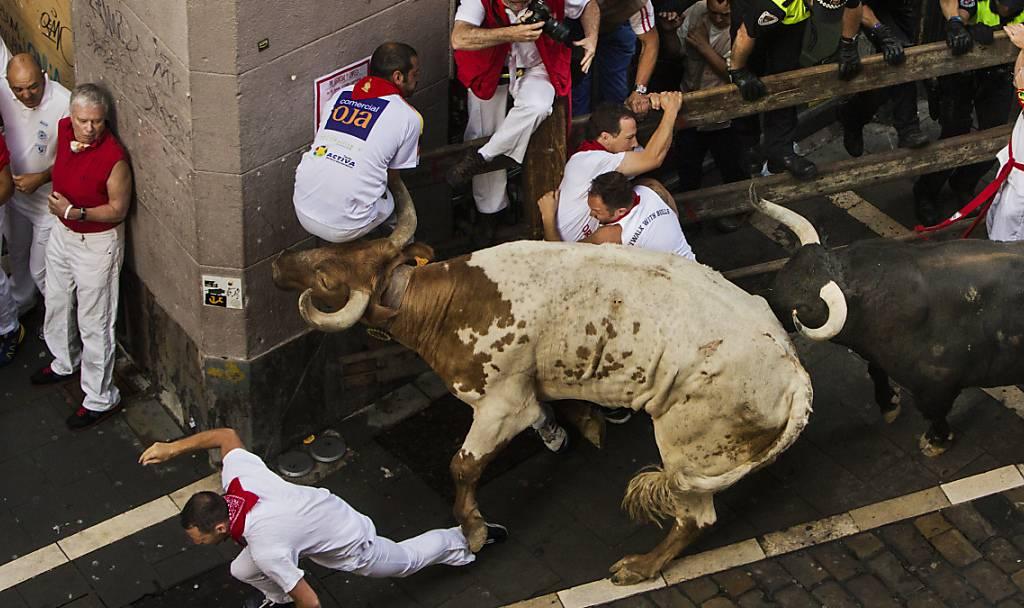Zwei Verletzte durch Hornstösse bei erster Stierhatz in Pamplona