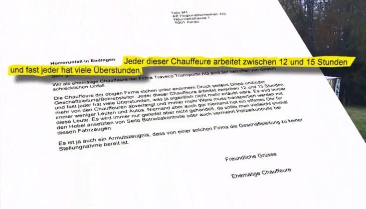 Der anonyme Brief der Ex-Chauffeure von Traveco.