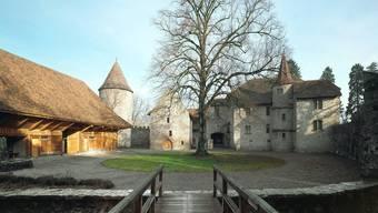 Herbststimmung im Schlosshof Hallwyl.
