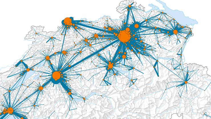 Die Grafik zeigt die wichtigsten Pendlerströme zwischen Schweizer Gemeinden im Jahr 2014. (Ausschnitt)