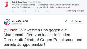 Twitter-Streit der Jungparteien.