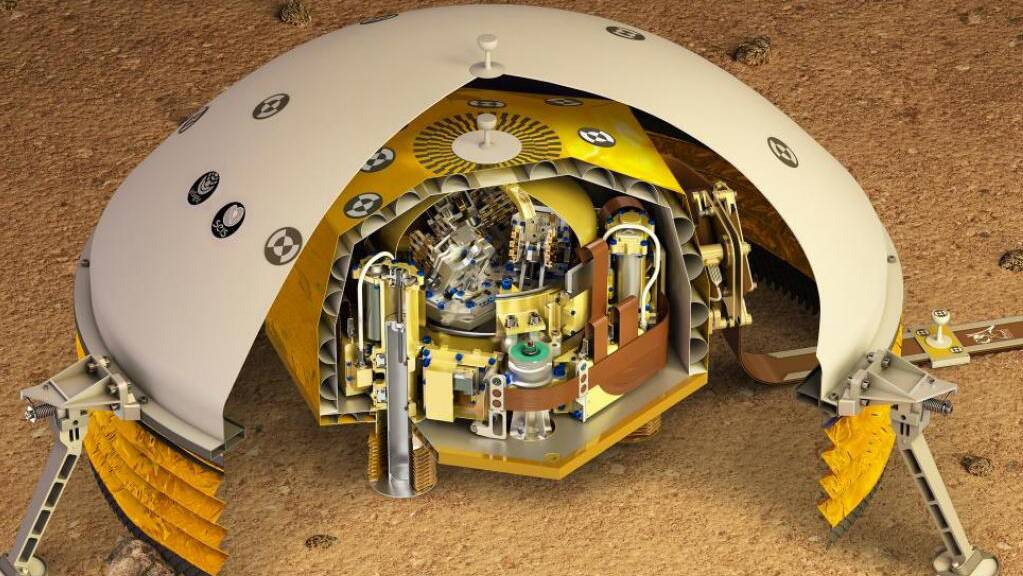 Künstlerische Darstellung des aufgeschnittenen Seismometers, dessen Messungen über Marsbeben von der ETH Zürich ausgewertet werden. Das Gerät, an dessen Entwicklung die ETH beteiligt war, hat bereits Daten geliefert, die zu ganz neuen Einsichten über den Aufbau des Mars geführt haben. (Pressebild)
