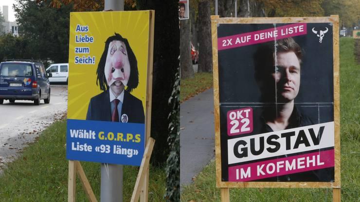 Exoten im Solothurner Wahlplakate-Dschungel: Rechts Sänger Gustav und links G.O.R.P.S.