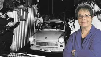9. November 1989 am Grenzübergang Sonnenallee in Berlin: Die DDR hat die Grenze in den Westen geöffnet. «Nordwestschweiz»-Auslandsredaktorin Dagmar Heuberger (rechts) verfolgte das Geschehen am Bildschirm, hat das Ausmass des historischen Ereignis medial aber verschlafen.