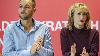 Bewerben sich fürs SP-Co-Präsidium: Priska Seiler Graf und Mathias Reynard bei der Debatte in Hitzkirch LU.