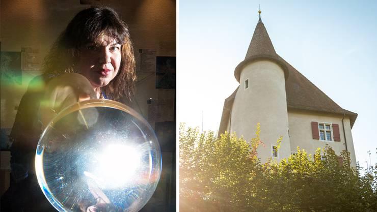Wicca Meier-Spring bezeichnet sich selbst als Hexe. Rechts: das Schloss Liebegg.