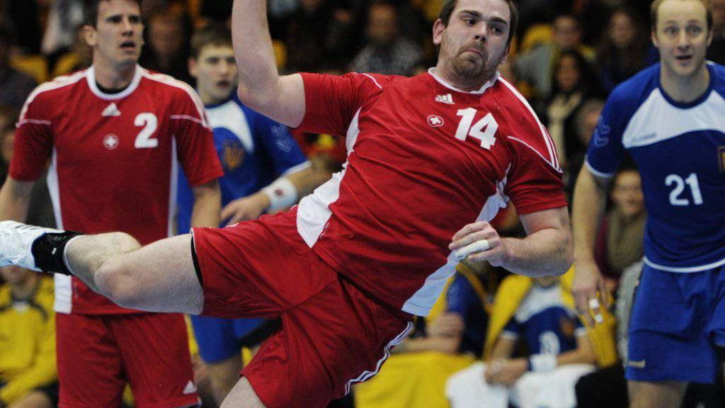Kreisläufer Alen Milosevic bei einem Spiel der Schweizer Nationalmannschaft am Yellow-Cup 2012
