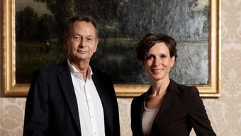 Gemeinsamer Abgang der Standesvertreter: Philipp Müller (FDP) und Pascale Bruderer (SP) im Kommissionszimmer des Aargauer Regierungsgebäudes.
