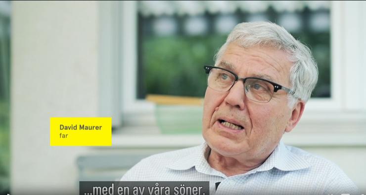 David Maurer, dessen Sohn beim Unfall ums Leben kam, äussert sich im schwedischen Fernsehen.