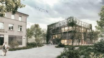 Kontrast: Das neue Gebäude soll sich vom alten Elektrizitätsmuseum, welches nur sanft renoviert wird, optisch abheben und den Blick in die Zukunft weisen. (zvg / Visualisierung)