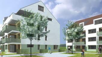 Die Wohnüberbauung Tribetfeld in Auw ermöglicht viel verkehrsfreien Raum zwischen den Häusern.