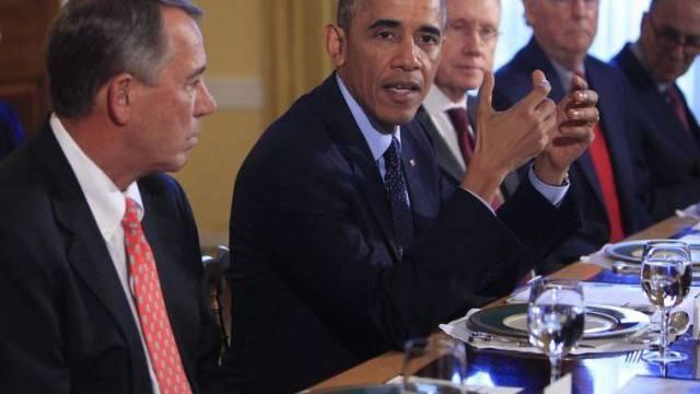 Obama mit (v.l.) John Boehner, Harry Reid und Mitch McConnell