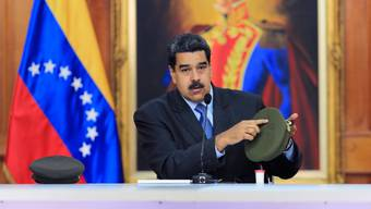 Venezuelas Präsident Nicolas Maduro bei seiner TV-Ansprache am Dienstag.