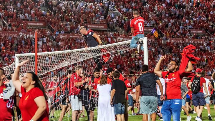Jubel im Stadion Son Moix: Fans von Real Mallorca sichern sich mit dem Tornetz ein Stück Erinnerung.