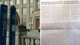 Protest Inserat in der Neuen Zürcher Zeitung