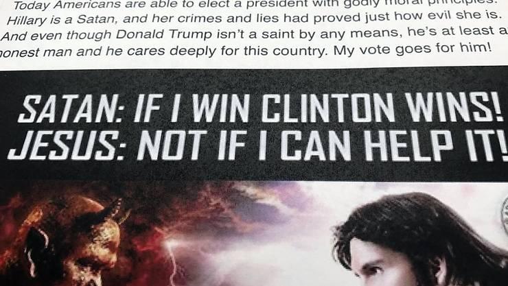 Mutmasslich aus Russland geschaltete Werbung auf Facebook während des US-Präsidentschaftswahlkampfs 2016. (Archivbild)