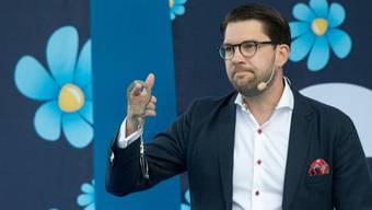 Parteichef Jimmie Åkesson: Er könnte die Schwedendemokraten zu einem historisch  guten Wahlergebnis führen.